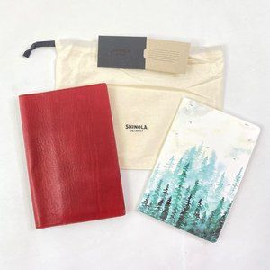 Shinola Red Leather Journal Cover 80pg Notebook